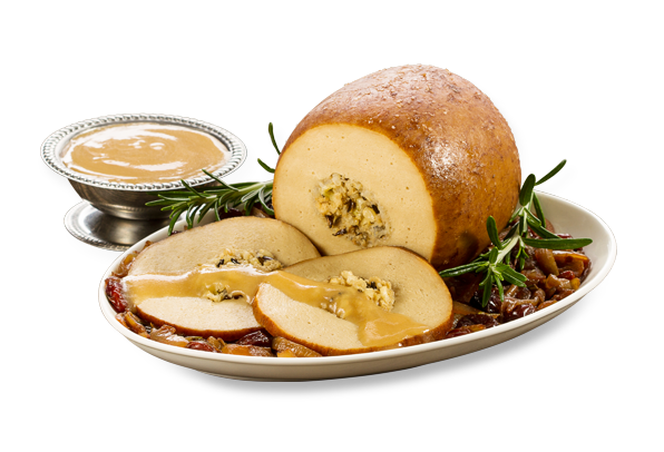Tofurky holiday roast with gravy on the side